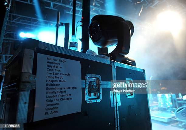 Cold War Kids set list is seen onstage during Day 1 of the Coachella Valley Music Arts Festival 2011 held at the Empire Polo Club on April 15 2011 in...