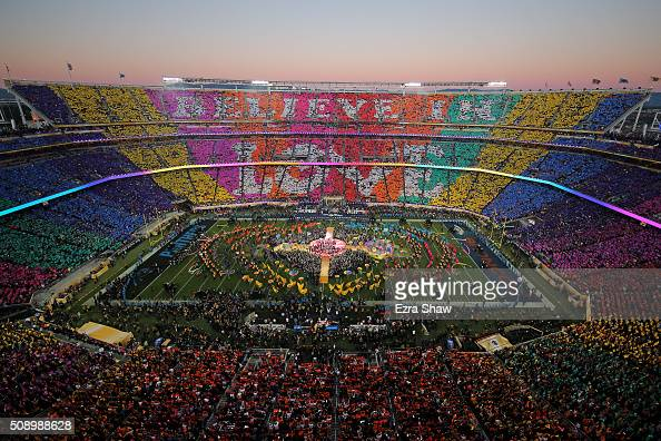Coldplay Beyonce and Bruno Mars perform during the Pepsi Super Bowl 50 Halftime Show at Levi's Stadium on February 7 2016 in Santa Clara California