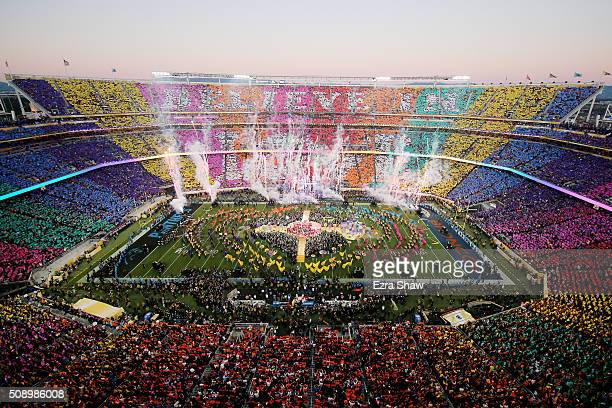 Coldplay Beyonce and Bruno Mars performs during the Pepsi Super Bowl 50 Halftime Show at Levi's Stadium on February 7 2016 in Santa Clara California