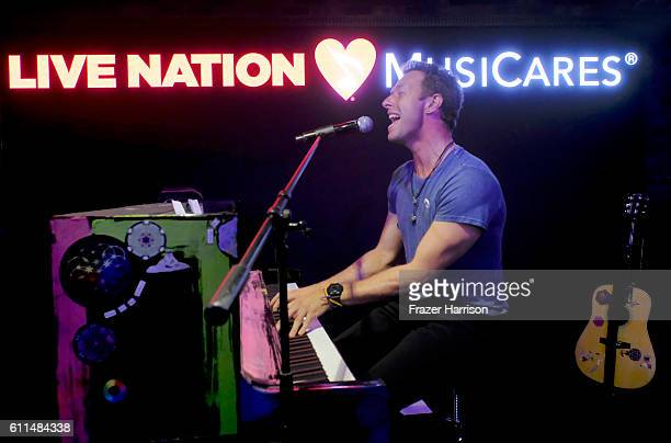 Coldplay's Chris Martin sings onstage during a special performance hosted by Live Nation to benefit MusiCares a charity of The Recording Academy at...