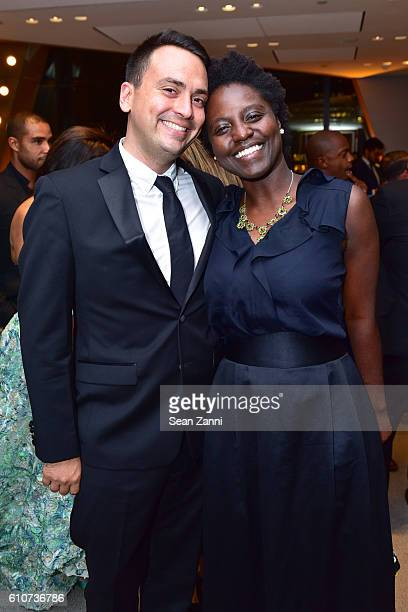 Cole Akers and Andrianna Campbell attend Abstracted Black Tie Dinner Hosted by Pamela Joyner Fred Giuffrida and the Ogden Museum of Southern Art to...
