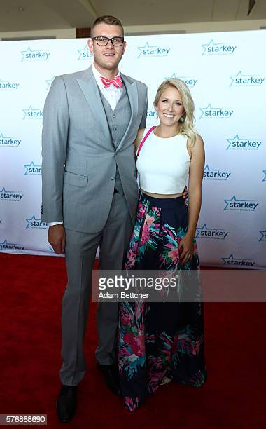 Cole Aldrich and guest walks the red carpet at the 2016 Starkey Hearing Foundation 'So the World May Hear' awards gala at the St Paul RiverCentre on...
