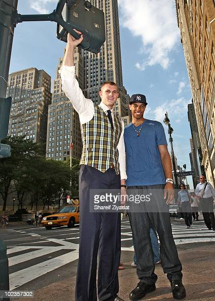 Cole Aldrich and Xavier Henry visit the Sean John Store on June 23 2010 in New York City