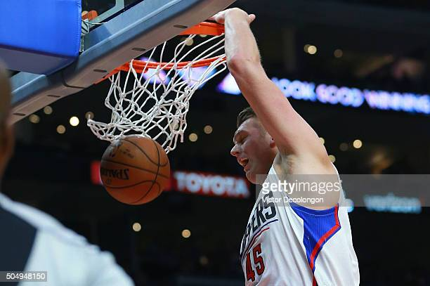 Cole Aldrich of the Los Angeles Clippers follows through on a dunk in the second half against the Miami Heat during the NBA game at Staples Center on...