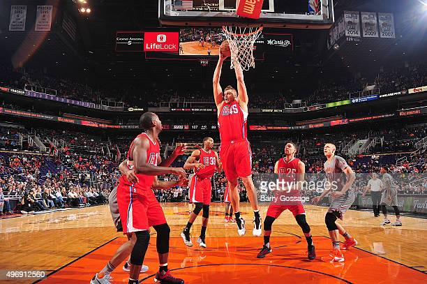 Cole Aldrich of the Los Angeles Clippers grabs the rebound against the Phoenix Suns on November 12 2015 at Talking Stick Resort Arena in Phoenix...