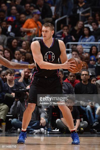 Cole Aldrich of the Los Angeles Clippers handles the ball against the Golden State Warriors on February 20 2016 at STAPLES Center in Los Angeles...