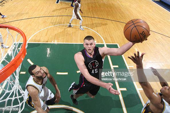 Cole Aldrich of the Los Angeles Clippers hooks the ball against the Utah Jazz during the game on April 8 2016 at Vivint Smart Home Arena in Salt Lake...
