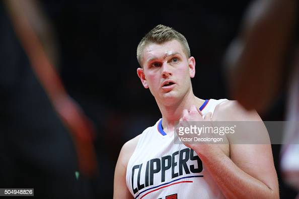 Cole Aldrich of the Los Angeles Clippers looks on prior to taking freethrows in the second half during the NBA game against the Miami Heat at Staples...