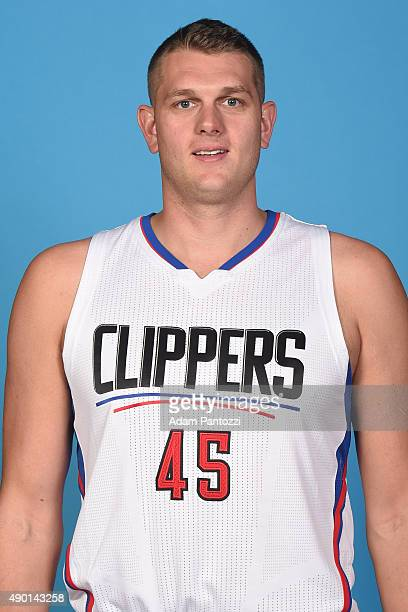 Cole Aldrich of the Los Angeles Clippers poses for a headshot during media day at the Los Angeles Clippers Training Center on September 25 2015 in...