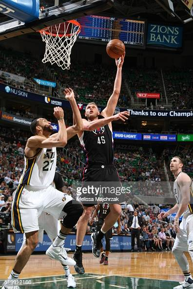 Cole Aldrich of the Los Angeles Clippers shoots against the Utah Jazz during the game on April 8 2016 at Vivint Smart Home Arena in Salt Lake City...