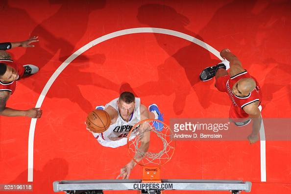 Cole Aldrich of the Los Angeles Clippers shoots the ball against the Portland Trail Blazers in Game Five of the Western Conference Quarterfinals on...
