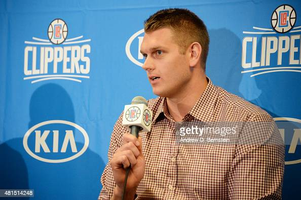 Cole Aldrich of the Los Angeles Clippers speaks to the media during a press conference at STAPLES Center on July 21 2015 in Los Angeles California...