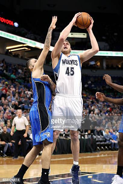 Cole Aldrich of the Minnesota Timberwolves goes for the lay up during the game against the Orlando Magic on January 30 2017 at Target Center in...