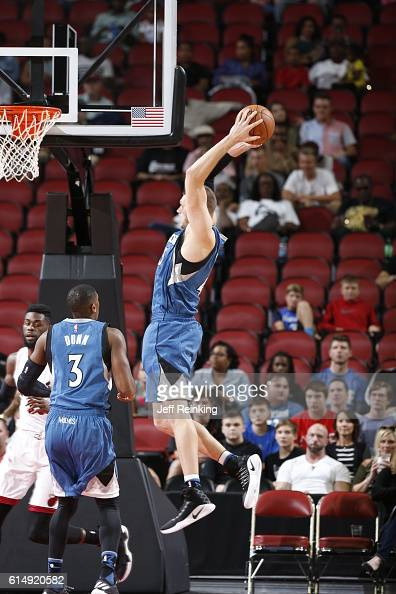 Cole Aldrich of the Minnesota Timberwolves grabs the rebound against the Miami Heat during a preseason game on October 15 2016 at KFC Yum Center in...