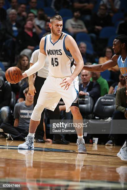 Cole Aldrich of the Minnesota Timberwolves handles the ball against the Denver Nuggets during the game on November 3 2016 at Target Center in...