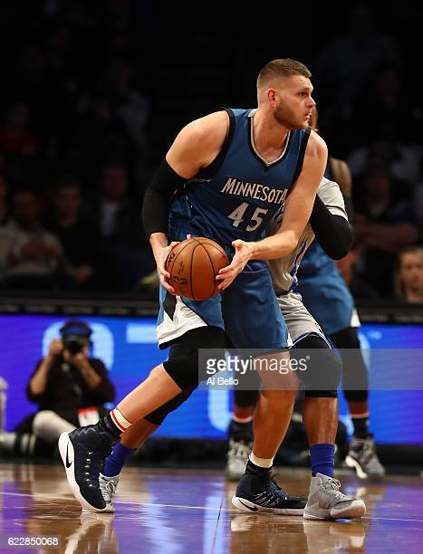 Cole Aldrich of the Minnesota Timberwolves in action against the Brooklyn Nets during their game at the Barclays Center on November 8 2016 in New...