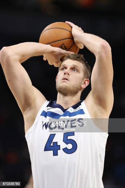 Cole Aldrich of the Minnesota Timberwolves shoots the ball against the Dallas Mavericks on November 4 2017 at Target Center in Minneapolis Minnesota...