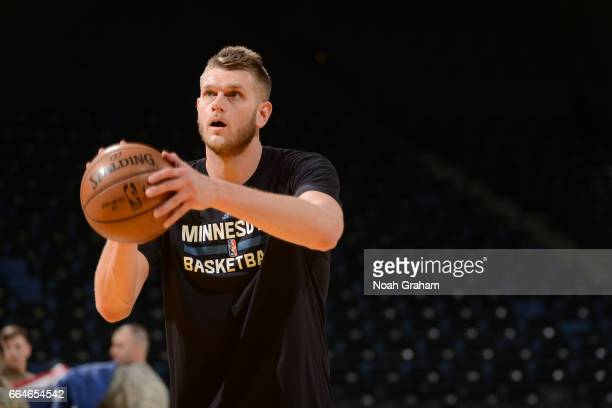 Cole Aldrich of the Minnesota Timberwolves warms up before a game against the Golden State Warriors on April 4 2017 at ORACLE Arena in Oakland...