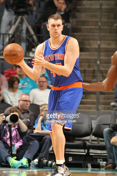 Cole Aldrich of the New York Knicks handles the ball against the Charlotte Hornets during the game at the Time Warner Cable Arena on January 24 2015...