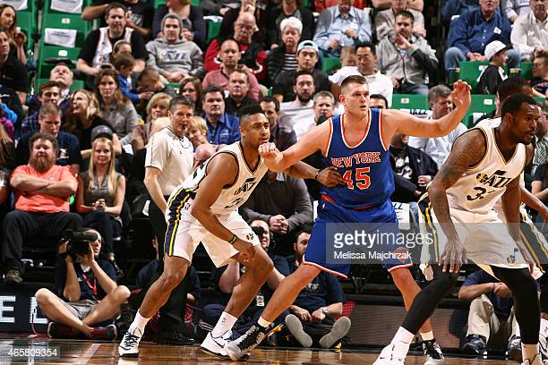 Cole Aldrich of the New York Knicks posts up against Jerrelle Benimon of the Utah Jazz on March 10 2015 at EnergySolutions Arena in Salt Lake City...