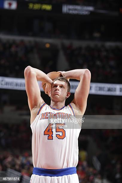 Cole Aldrich of the New York Knicks prepares to shoot a free throw against the Chicago Bulls on March 28 2015 at the United Center in Chicago...