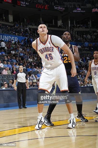Cole Aldrich of the Oklahoma City Thunder and Al Jefferson of the Utah Jazz look for the rebound during a game on October 31 2010 at the Ford Center...