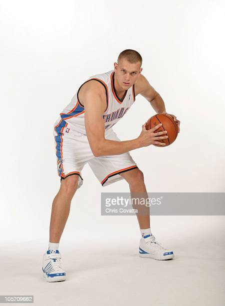 Cole Aldrich of the Oklahoma City Thunder poses for a portrait during NBA Media Day on September 27 2010 at The Ford Center in Oklahoma City Oklahoma...