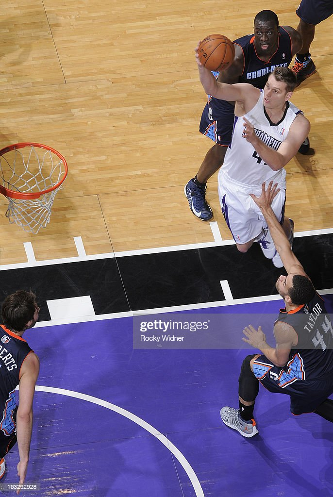 <a gi-track='captionPersonalityLinkClicked' href=/galleries/search?phrase=Cole+Aldrich&family=editorial&specificpeople=4226189 ng-click='$event.stopPropagation()'>Cole Aldrich</a> #45 of the Sacramento Kings shoots against Jeff Taylor #44 of the Charlotte Bobcats on March 3, 2013 at Sleep Train Arena in Sacramento, California.