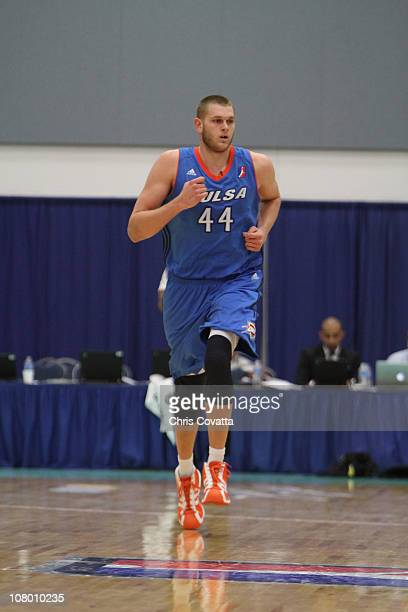 Cole Aldrich of the Tulsa 66ers runs down the court during the game against the Dakota Wizards during the 2011 NBA DLeague Showcase on January 12...