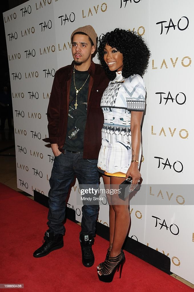 <a gi-track='captionPersonalityLinkClicked' href=/galleries/search?phrase=J.+Cole&family=editorial&specificpeople=5958978 ng-click='$event.stopPropagation()'>J. Cole</a> and Brandy Brandy hosts New Year's Eve at Lavo at The Palazzo on December 31, 2012 in Las Vegas, Nevada.