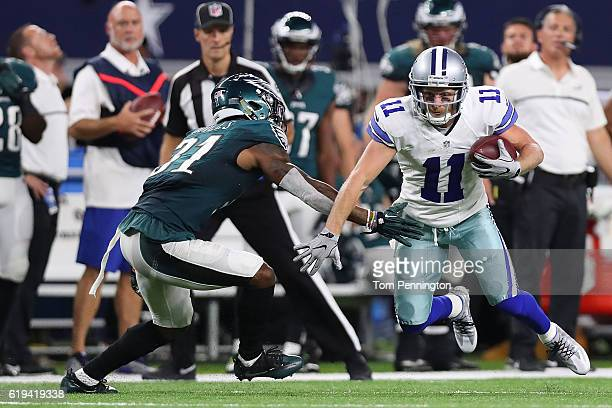 Cole Beasley of the Dallas Cowboys avoids the tackle of Jalen Mills of the Philadelphia Eagles during a game between the Dallas Cowboys and the...