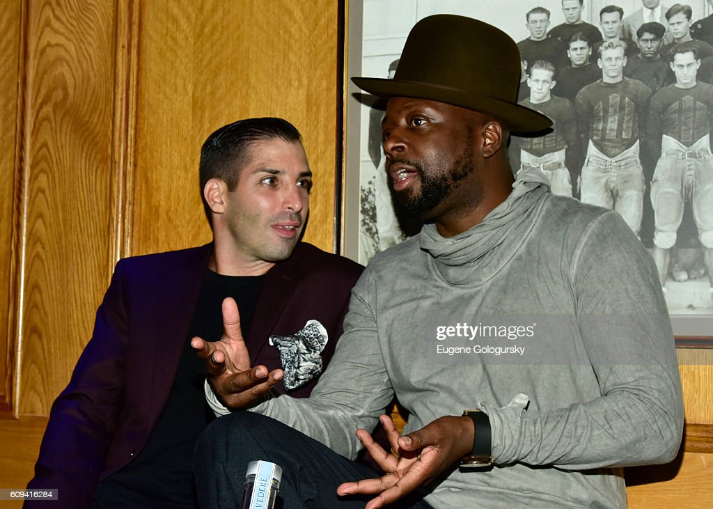 Cole Bernard and Wyclef Jean attend the Bounce Sporting Club Celebrates Its 5th Anniversary at Bounce Sporting Club on September 20, 2016 in New York City.