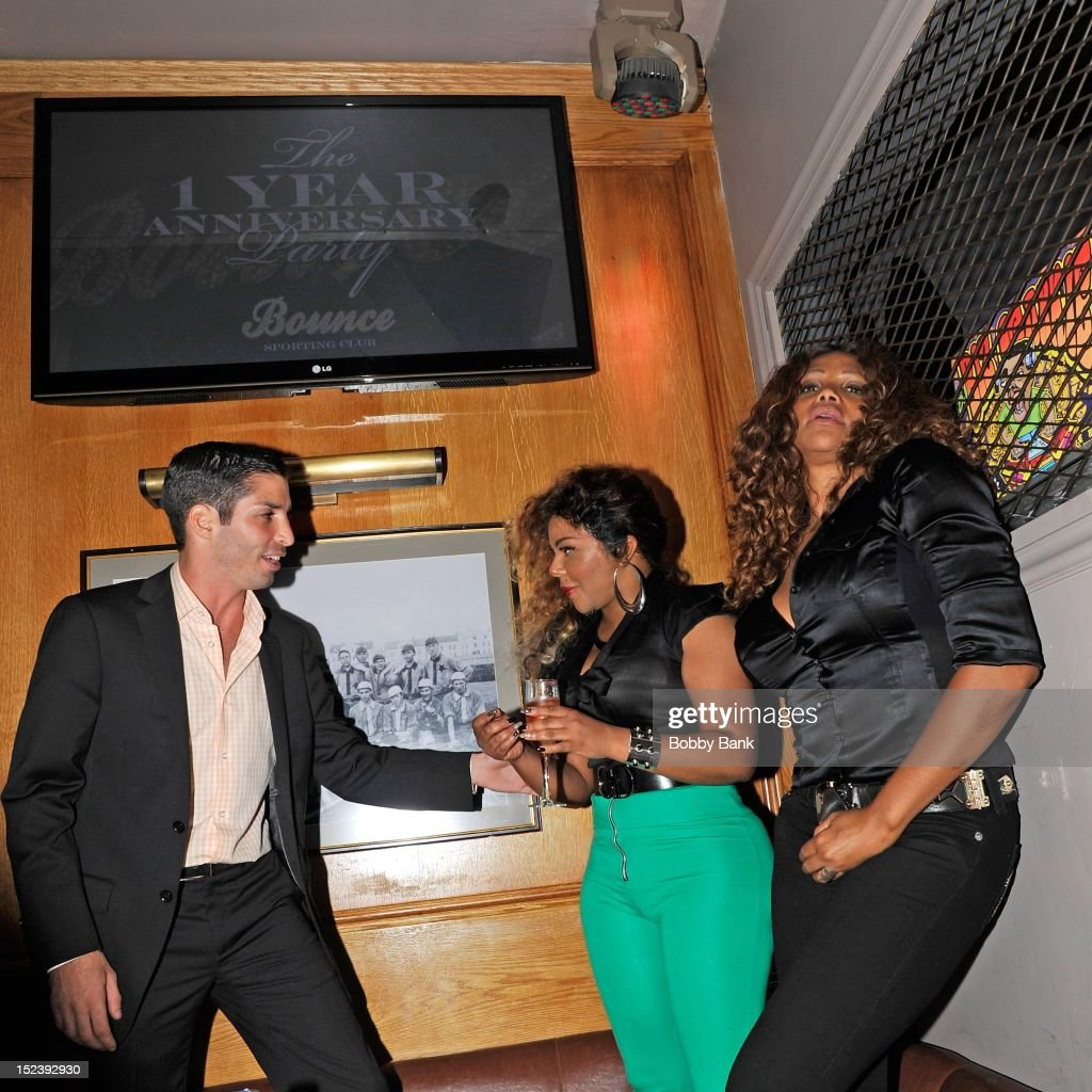 Cole Bernard, Lil Kim and Sandra 'Pepa' Denton attends the 1 year anniversary party at Bounce Sporting Club on September 19, 2012 in New York City.