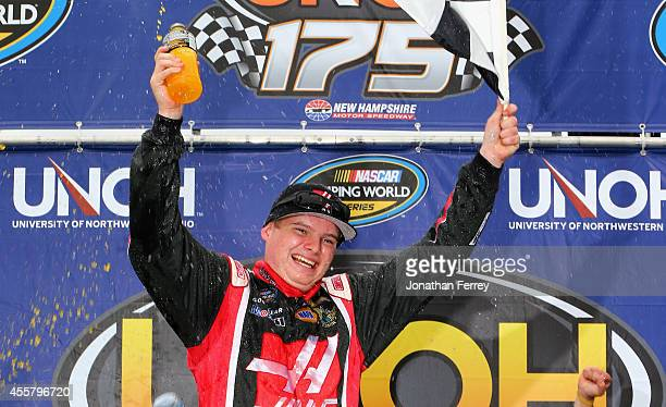 Cole Custer driver of the Haas Automation Chevrolet celebrates in victory lane after winning the NASCAR Camping World Truck Series UNOH 175 at New...