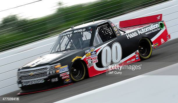 Cole Custer driver of the Haas Automation Chevrolet during qualifying of the NASCAR Camping World Truck Series Drivin' for Linemen 200 at Gateway...