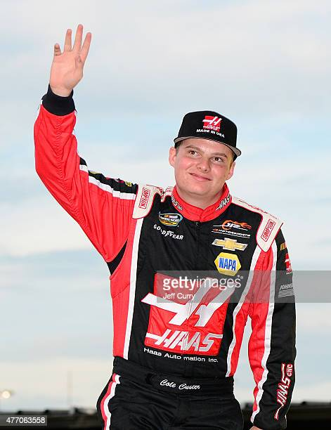 Cole Custer driver of the Haas Automation Chevrolet is introduced before the NASCAR Camping World Truck Series Drivin' for Linemen 200 at Gateway...