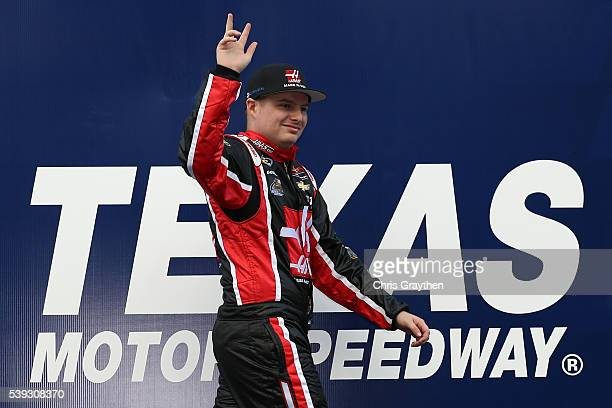 Cole Custer driver of the Haas Automation Chevrolet is introduced prior to the NASCAR Camping World Truck Series Rattlesnake 400 at Texas Motor...