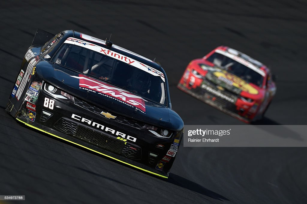 <a gi-track='captionPersonalityLinkClicked' href=/galleries/search?phrase=Cole+Custer&family=editorial&specificpeople=10572895 ng-click='$event.stopPropagation()'>Cole Custer</a>, driver of the #88 Haas Automation Chevrolet, leads a pack of cars during the NASCAR XFINITY Series Hisense 300 at Charlotte Motor Speedway on May 28, 2016 in Charlotte, North Carolina.