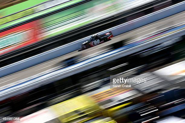 Cole Custer driver of the Haas Automation Chevrolet practices for the NASCAR Camping World Truck Series Kroger 200 at Martinsville Speedway on...