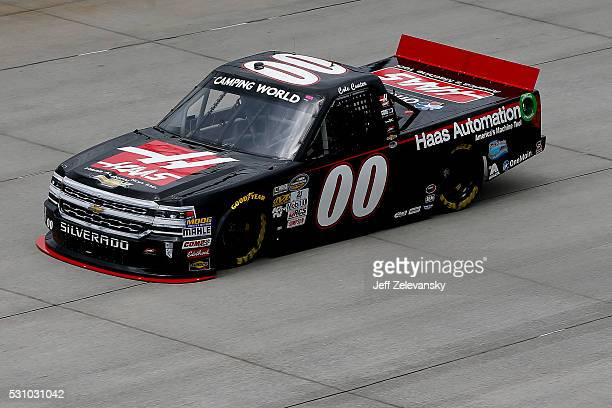 Cole Custer driver of the Haas Automation Chevrolet practices for the NASCAR Camping World Truck Series at Dover International Speedway on May 12...