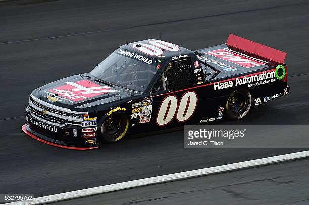 Cole Custer driver of the Haas Automation Chevrolet practices for the NASCAR Camping World Truck Series North Carolina Education Lottery 200 at...