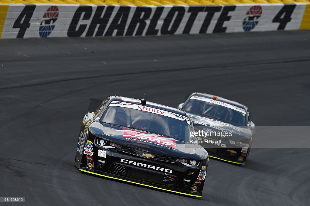 <a gi-track='captionPersonalityLinkClicked' href=/galleries/search?phrase=Cole+Custer&family=editorial&specificpeople=10572895 ng-click='$event.stopPropagation()'>Cole Custer</a>, driver of the #88 Haas Automation Chevrolet, practices for the NASCAR XFINITY Series Hisense 4K TV 300 at Charlotte Motor Speedway on May 27, 2016 in Charlotte, North Carolina.