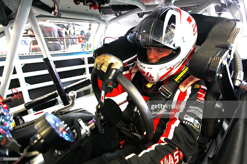 <a gi-track='captionPersonalityLinkClicked' href=/galleries/search?phrase=Cole+Custer&family=editorial&specificpeople=10572895 ng-click='$event.stopPropagation()'>Cole Custer</a>, driver of the #88 Haas Automation Chevrolet, sits in his car during practice for the NASCAR XFINITY Series Hisense 4K TV 300 at Charlotte Motor Speedway on May 27, 2016 in Charlotte, North Carolina.