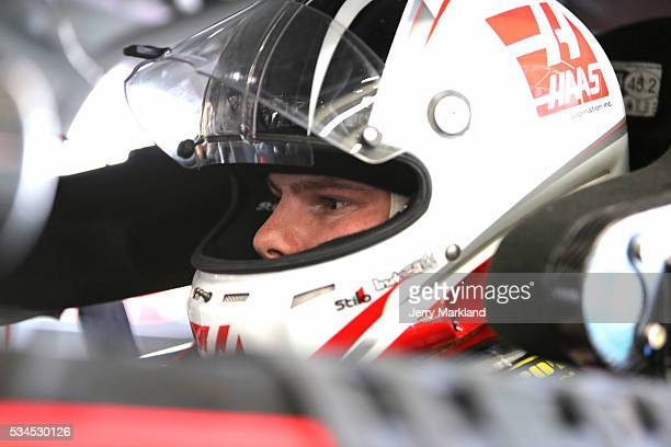 Cole Custer driver of the Haas Automation Chevrolet stands in the garage area during practice for the NASCAR XFINITY Series Hisense 4K TV 300 at...