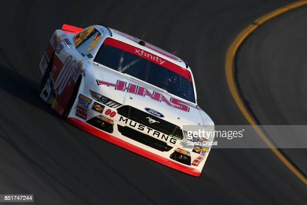 Cole Custer driver of the Haas Automation Ford practices for the NASCAR Xfinity Series VisitMyrtleBeachcom 300 at Kentucky Speedway on September 22...