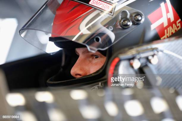 Cole Custer driver of the Haas Automation Ford sits in his car during practice for the NASCAR XFINITY Series My Bariatric Solutions 300 at Texas...