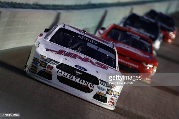 Cole Custer driver of the Haas Automation Fordl leads a pack of cars during the NASCAR XFINITY Series Championship Ford EcoBoost 300 at...
