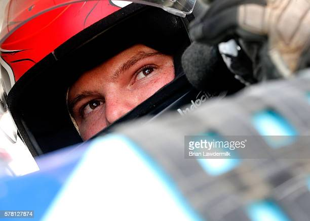 Cole Custer driver of the OneMain Chevrolet sits in his truck during qualifying for the NASCAR Camping World Series 4th Annual Aspen Dental Eldora...