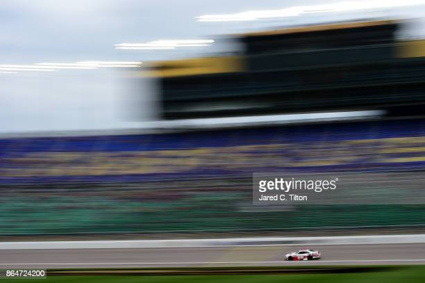 Cole Custer drives the Haas/Code 3 Associates Ford during the NASCAR XFINITY Series Kansas Lottery 300 at Kansas Speedway on October 21 2017 in...