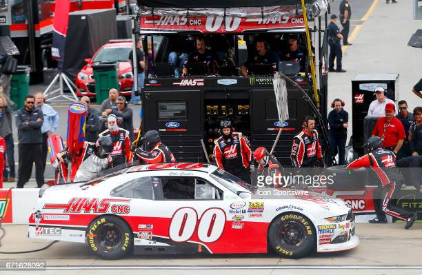 Cole Custer pits during the Fitzgerald Glider Kits 300 NASCAR Xfinity Series race on April 22 2017 at Bristol Motor Speedway in Bristol TN
